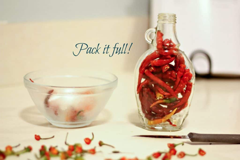 red peppers in jar with white vinegar