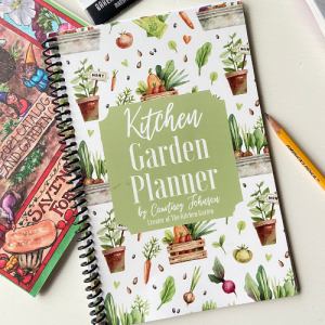 kitchen garden planner on white table