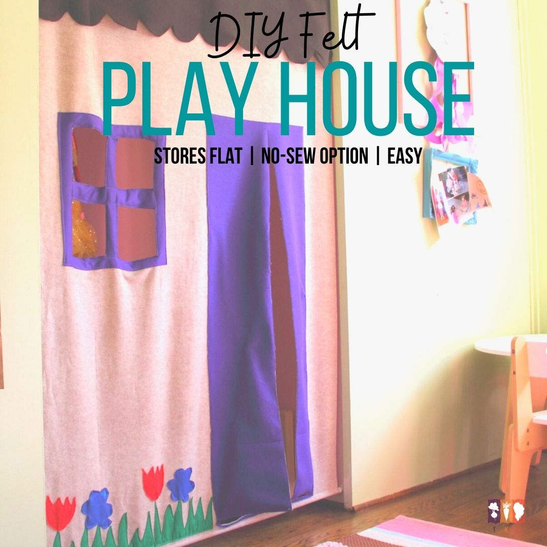 felt playhouse in the opening of a closet
