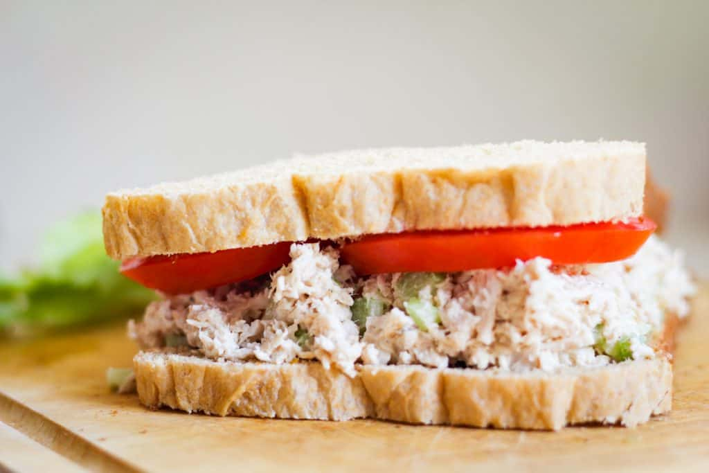 roasted chicken salad on whole grain bread