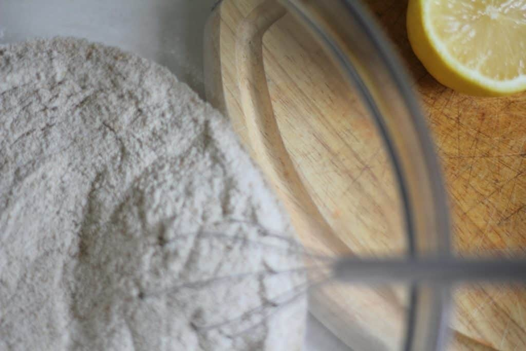lemon scones dry ingredients in a bowl