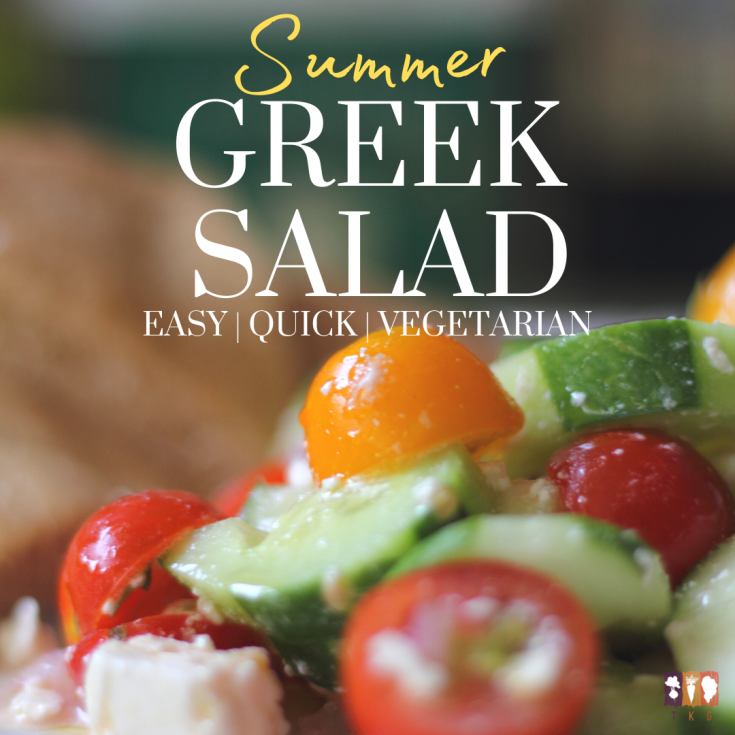 summer greek salad with cucumbers and tomatoes