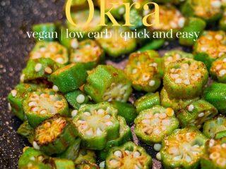 oven roasted okra on a dark sheet pan