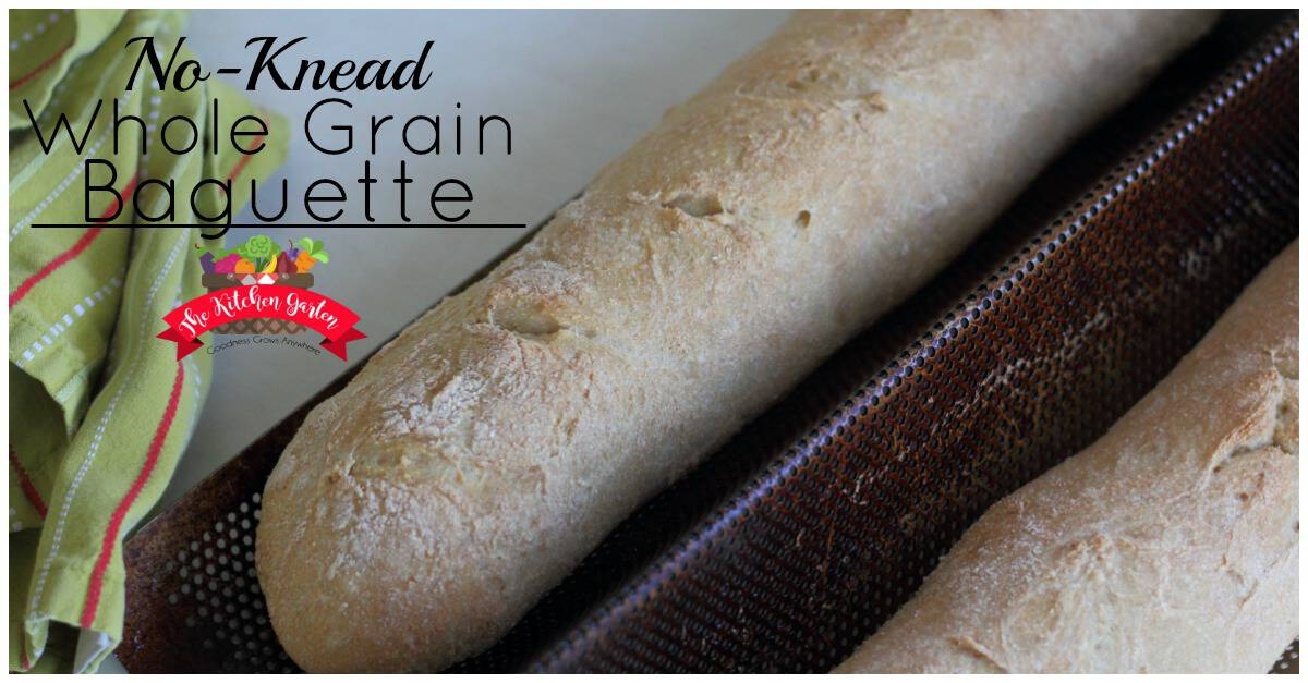 No-Knead Whole Grain Baguette-The Kitchen Garten