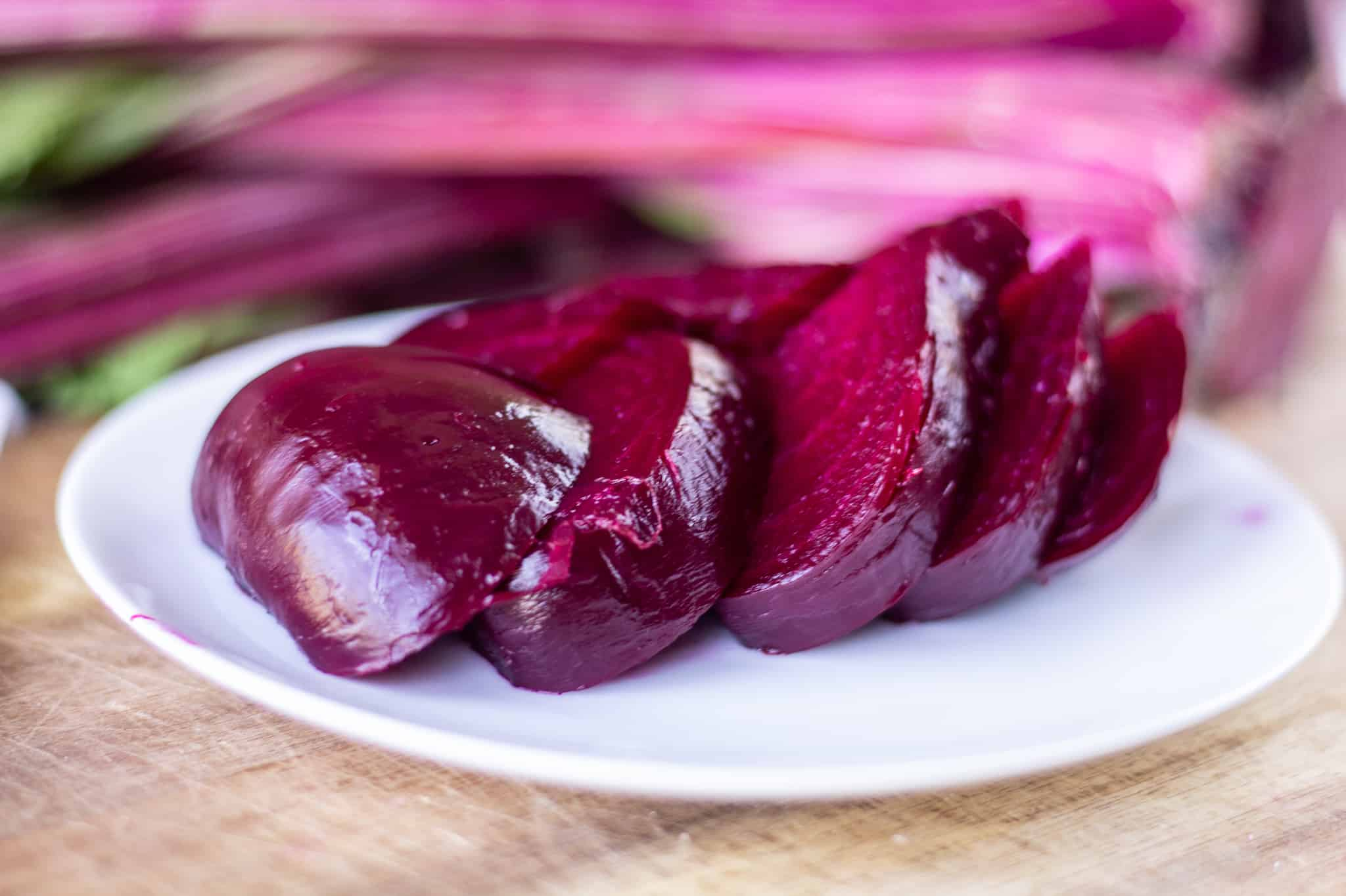 roasted and sliced beets on plate