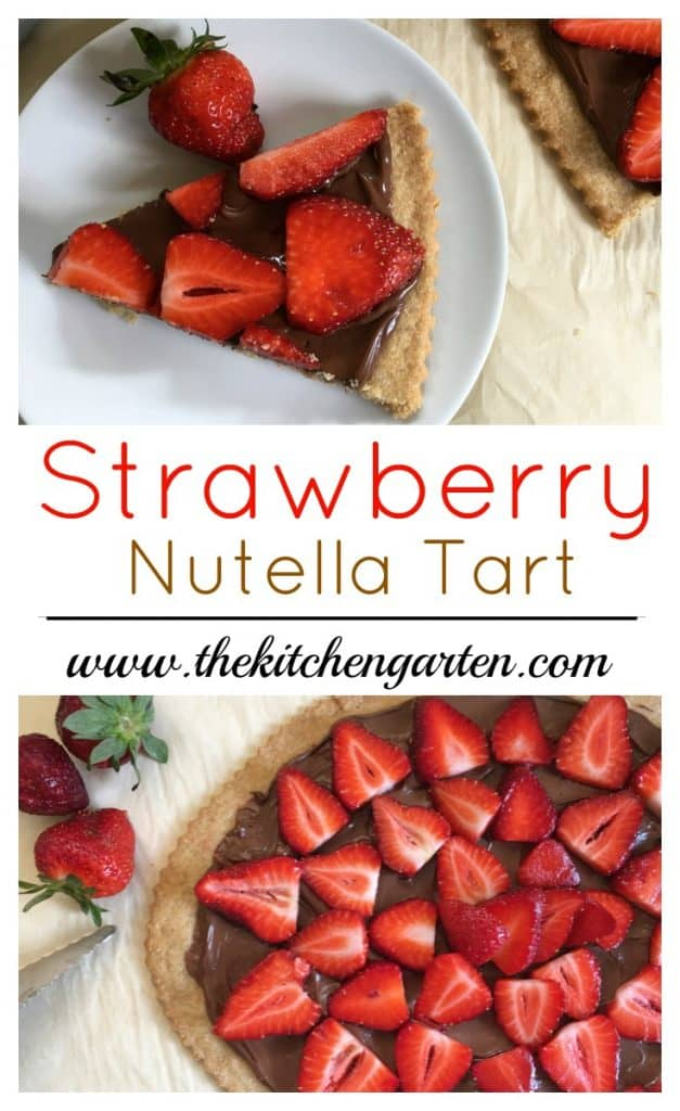 strawberry nutella tart sliced on white plate