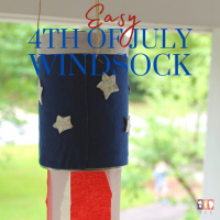 red, white, and blue windsock hanging outdoors