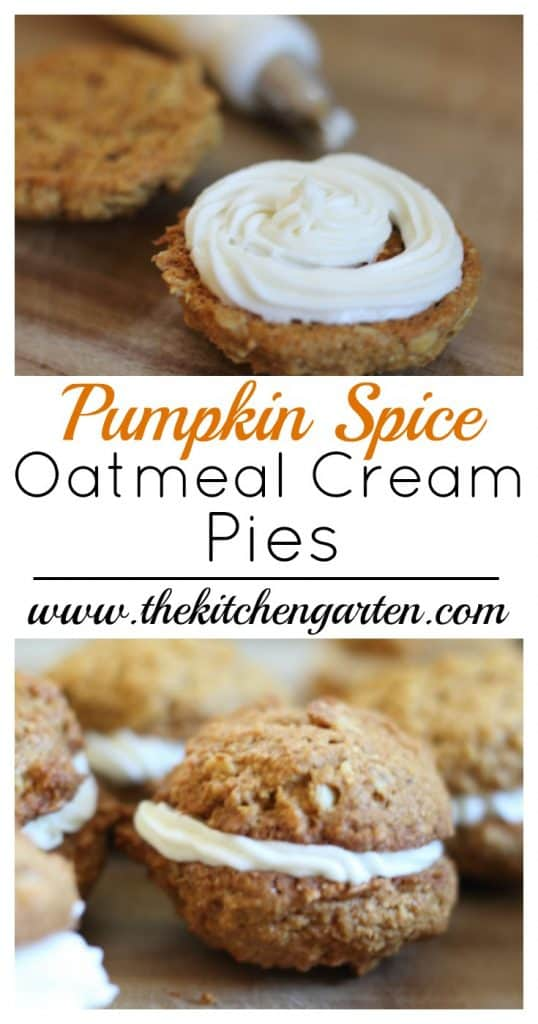 oatmeal cream pie with white cream piped in the center
