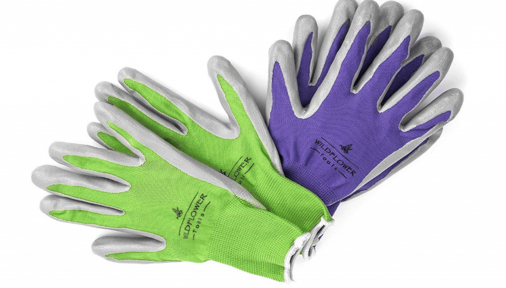 nitrile gardening gloves with white background