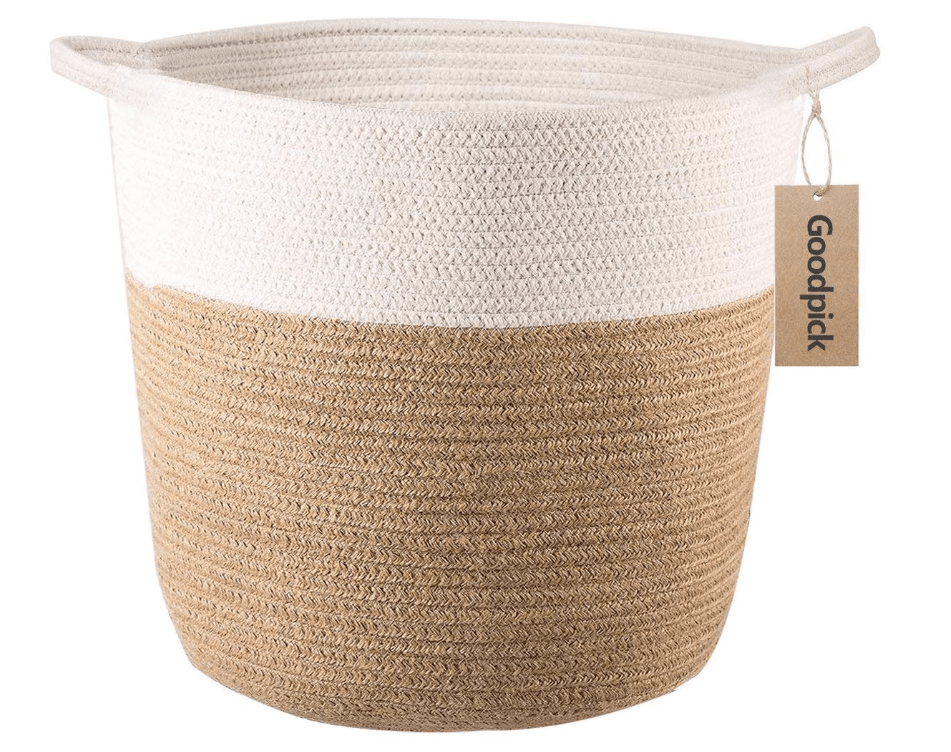 cotton woven planter basket on white background