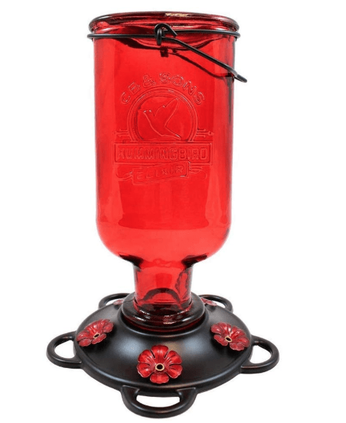 red hummingbird feeder