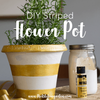 DIY Striped Flower Pot