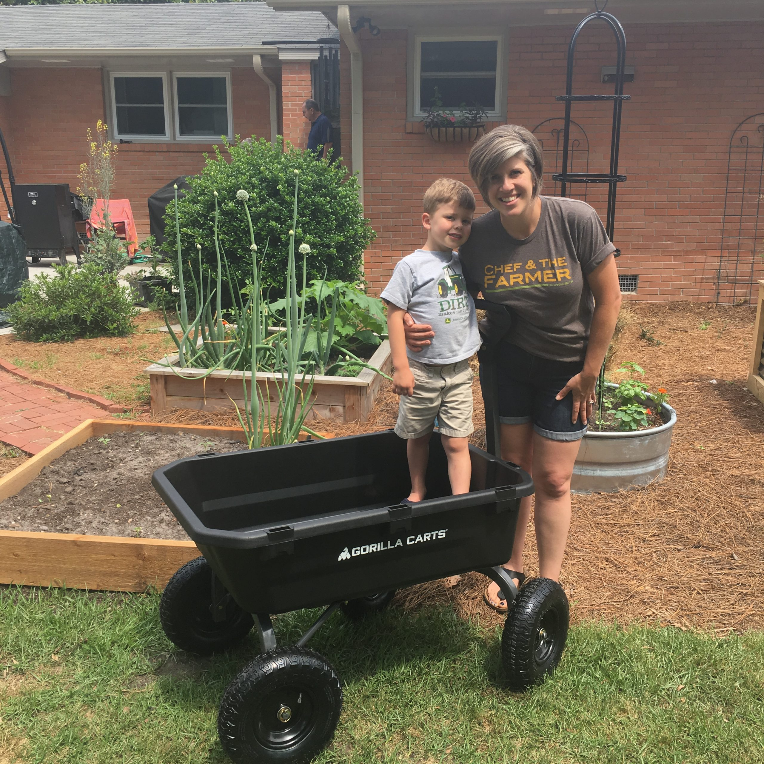 gorilla cart with raised bed garden in background