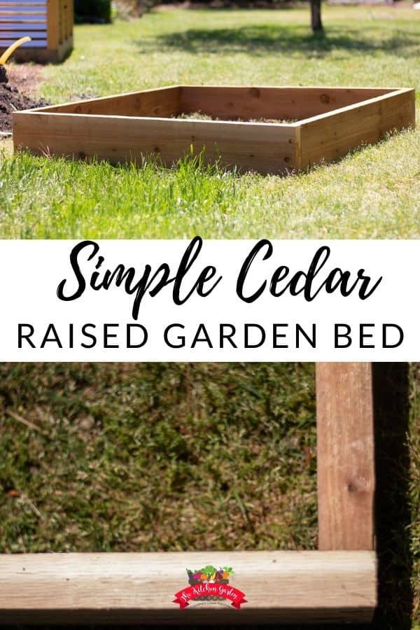 cedar raised garden bed on green grass