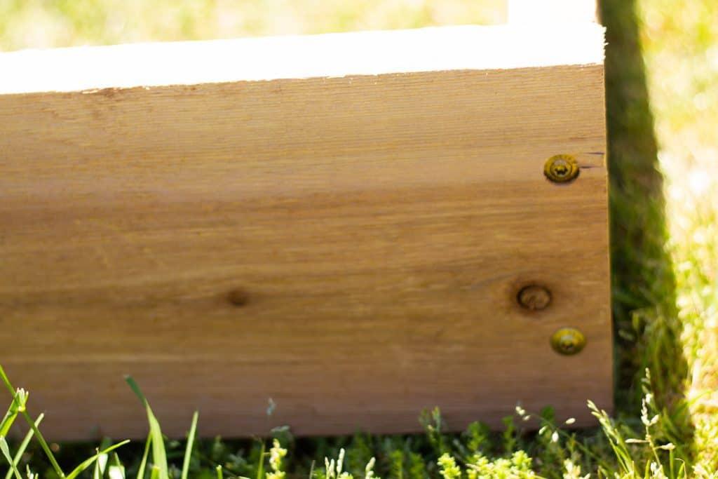 side of a cedar raised bed with bronze wood screws