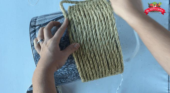 sisal rope half tin planter