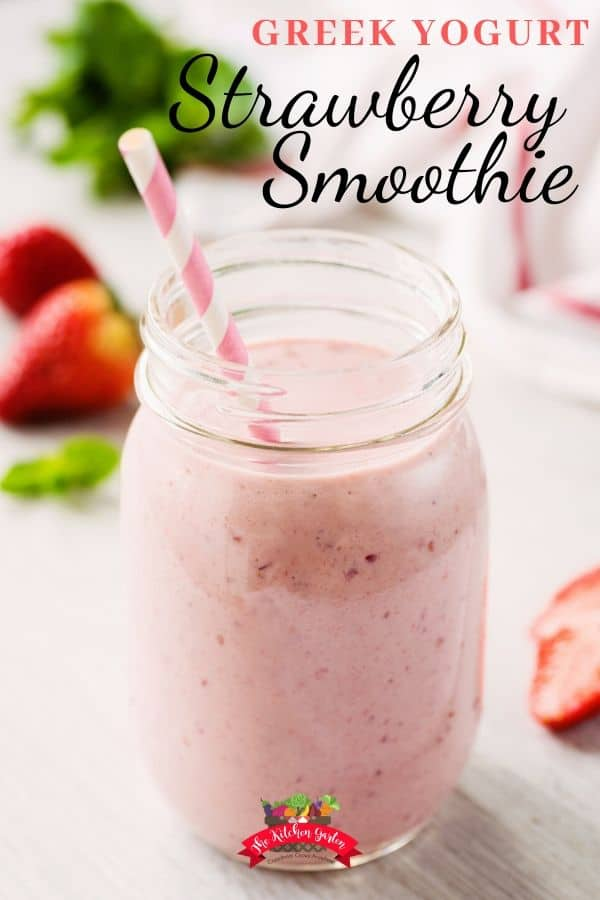 greek yogurt strawberry smoothie in mason jar