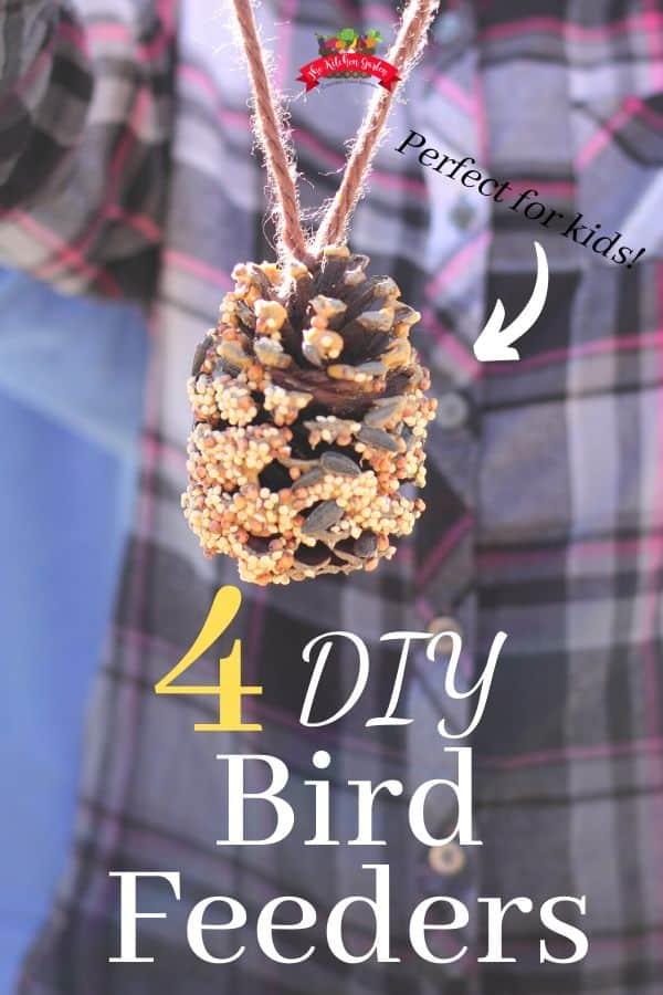 pine cone bird feeder on a jute string