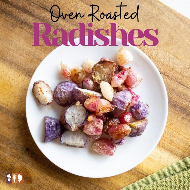 roasted radishes on a white plate