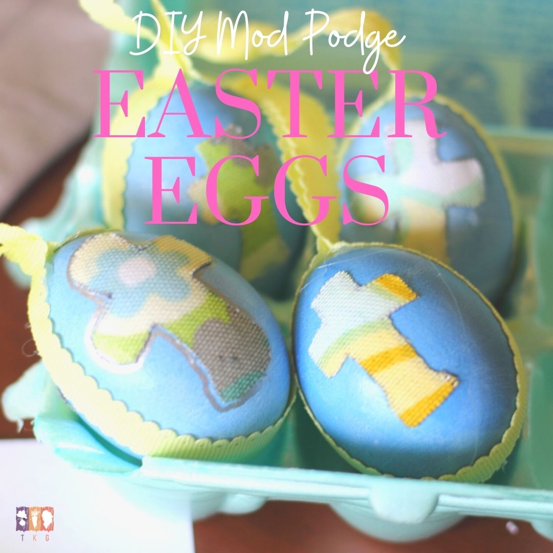 Easter eggs with mod podge and fabric