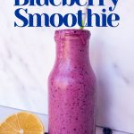 lemon blueberry smoothie in a glass bottle