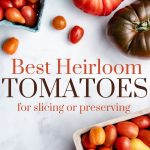 heirloom tomatoes on a white table