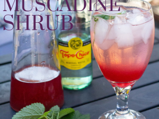 muscadine shrub on table with glass of ice