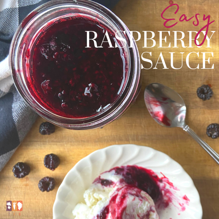 fresh raspberry sauce on a wooden board with a bowl of ice cream